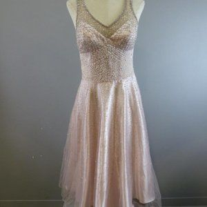 NWT Sue Wong Pink Beaded A-Line Cocktail Dress